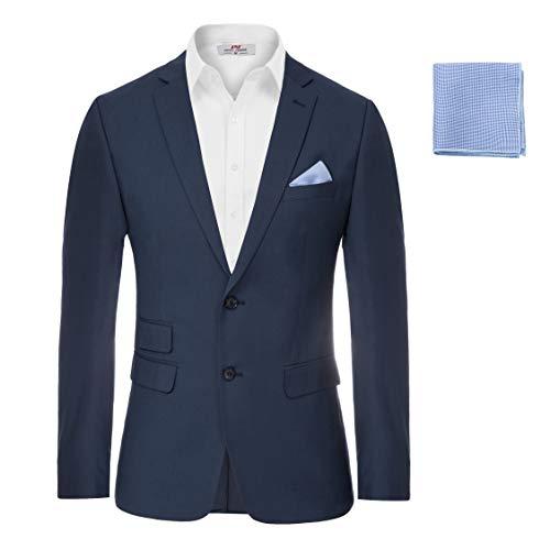 Men's Modern Jacket Sport Coat Slim Fit 2 Button Casual Suit Blazer Navy, Medium