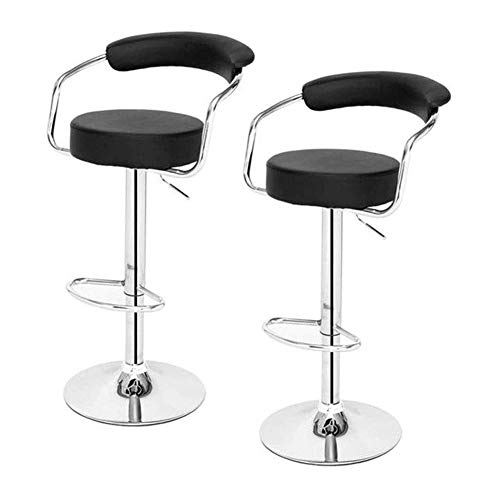 N/Z Daily Equipment Bar Stools Dining Chairs Breakfast Dining Stools for Kitchen Island Counter Bar Stool Adjustable Swivel Bar Stools Set of 2 Faux Leather Breakfast Kitchen Chairs (Color : Gray)