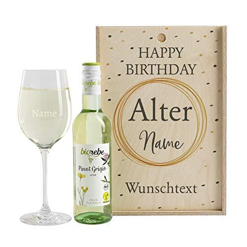 Herz & Heim® tolles Wein-Geschenk zum Geburtstag mit graviertem Weinglas und Wein zur Auswahl in Weinkiste Pinot Grigio