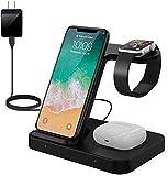 ワイヤレス充電器 3in1充電スタンド 15W/10W/7.5W/3W iphoneとSamsung両方対応 Qi 急速 Type c ケーブル付属 Airpods Pro/AirPods 2/Galaxy Buds/IWatch シリーズ5/4/3/2/1,iphone12/iPhone12Pro/iPhone11/11pro/11pro max/X/XS/XR/XS Max/ 8/8 Plus, Galaxy Note10/S10/S10+/S9/S9 Plus/Note8/S8/S8 Plus/S7/S7 Edge/S6 Edge Plus用充電器 LEDライト付き (ブラック)