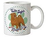Taza mascota raza Shar Pei - taza perro con Frase y Dibujo - Taza canina - Taza el mejor perro - cerámica blanca resistente...