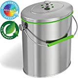 iTouchless Stainless Steel Compost Bin 1.6 Gallon Includes AbsorbX Odor Filter System, Pest-Proof, Titanium Rust-Free Space-efficient Slim Oval Shape 6 Liter Kitchen Countertop Trash Can