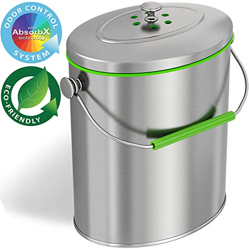 iTouchless Titanium 1.6 Gallon Oval Compost Bin with AbsorbX Odor Filter System, Pest-Proof, Rust-Free Kitchen Countertop Trash Can