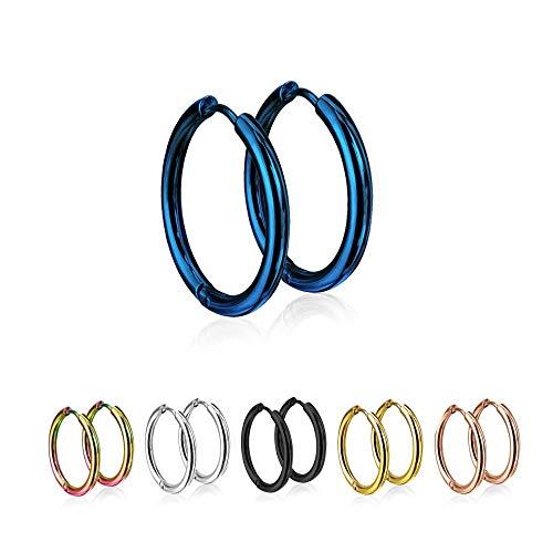 Treuheld®   Runde Creolen/Ohrringe aus medizinischem Edelstahl   10mm   Blau   Schmale Klappcreolen für Damen und Herren   Set/Paar