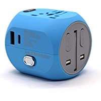 BrightWorld All-In-One Universal Plug w/ USB & Type C Charging Port Travel Adapter (Blue)