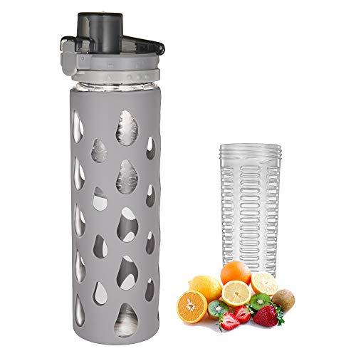 YIXUN Botella de agua de vidrio con funda de silicona, tapa giratoria con tapa abatible de bloqueo e infusor de frutas extraíble, 620 ml (gris, 20 oz)