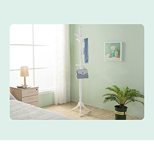 HUISHUAI Moderne Garderobe aus Massivholz, Wand Kleiderablage, Schlafzimmer Kleiderbügel, Einfache und Elegante, B weiß