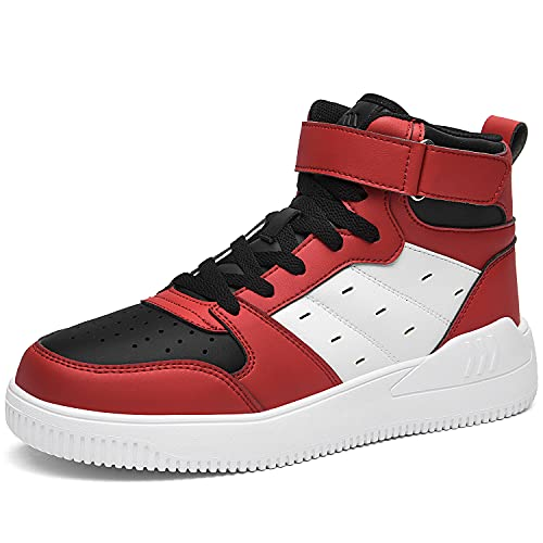 QAUPPE High Top Sneakers for Men Athletic Sport Casual Air Mid Walking Shoes-Ankle Support (Red US 13 D(M)