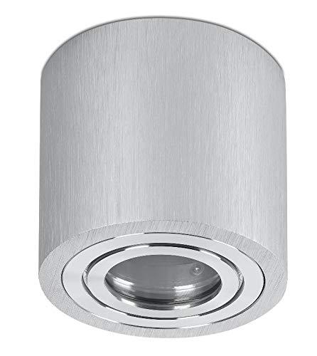 Feuchtraum Aufbauleuchte Unterbau Lampe Deckenleuchte Aufputz rund alu gebürstet IP44 für GU10 Led oder Halogen 230 Volt