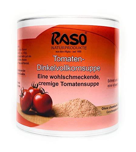Tomatensuppe Pulver - von RASO Naturprodukte (1x 300g Dose) - ohne Hefeextrakt, ohne Geschmacksverstärker mit Dinkelvollkornmehl* 33%, Tomatenpulver* 30%, Süßmolke, Steinsalz, Zwiebel*, Karotten*, Liebstöckel*, Schnittlauch*, Petersilie*, Curcuma* *aus naturbelassenem Anbau.
