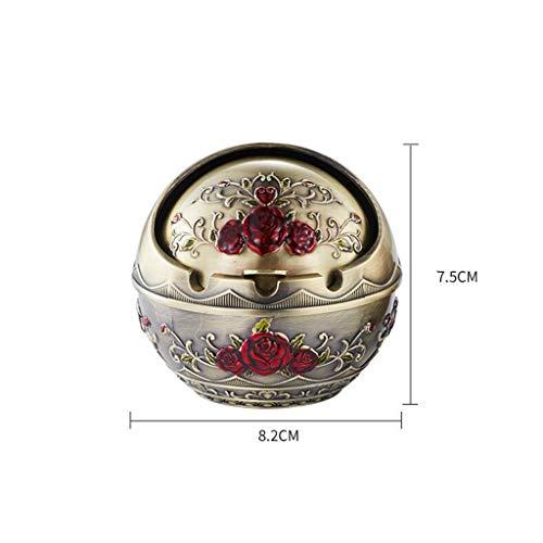 WI Kugelförmiger Metallaschenbecher aus Zinklegierung mit Retro Kreativ Personalisierter Geschenkboutique Europäischer Aschenbecher Home Desk Home,Klein