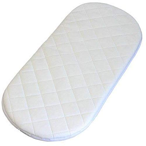 Moses Basket Memory Foam Mattress Baby Pram Cot Travel Crib Microfiber Fits Mothercare Pram Oval Shaped Bassinet Baskets Quilted Washable Covers (66 x 28 x 4)