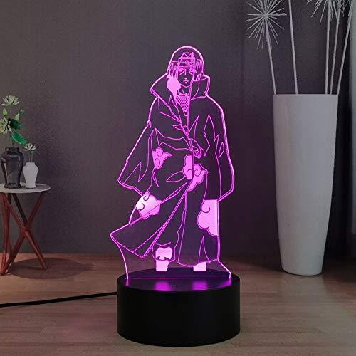 Uchiha Itachi - Luz nocturna LED 3D con 16 colores para decoración de escritorio, lámpara de noche USB táctil y mando a distancia, el mejor regalo de Navidad para niños, niñas y niños