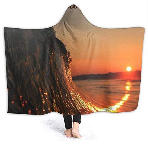 ZHENGYUAN Buena noche - Manta de tiro portátil con capucha, manta envolvente, capa de albornoz para niños, resistente al exterior, franela, con mangas 80 × 60 cm