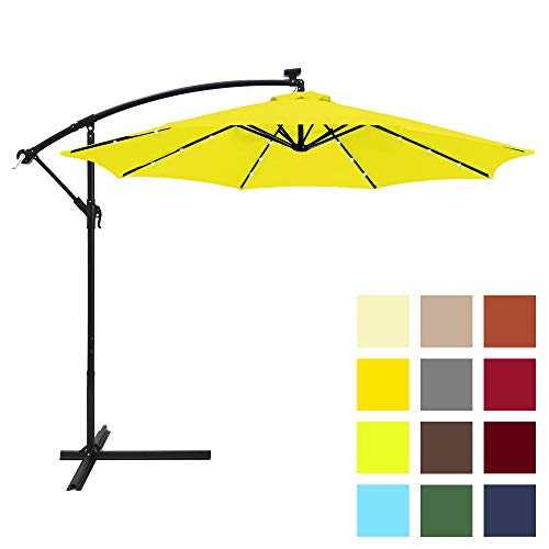 Best Choice Products 10-Foot Solar LED Offset Hanging Polyester Market Patio Umbrella w/Steel Frame and Easy Tilt Adjustment, Tan