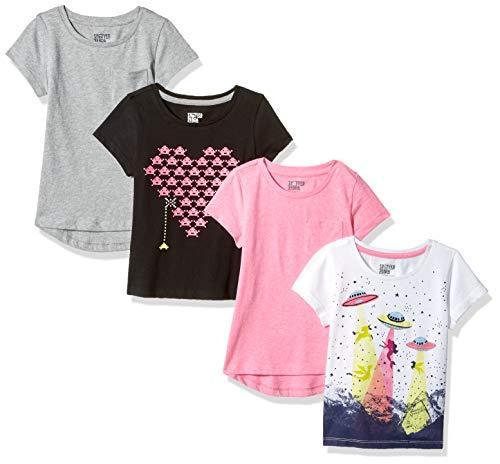 Spotted Zebra Girls' Kids Short-Sleeve T-Shirts, 4-Pack Video UFO, Medium