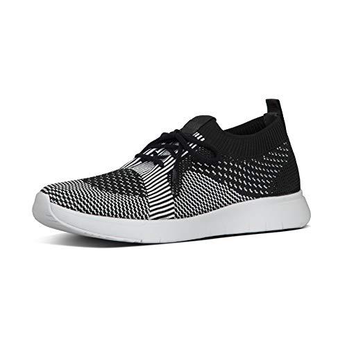 FitFlop Women's MARBLEKNIT Slip-ON Sneakers, Black/White, 6 M US
