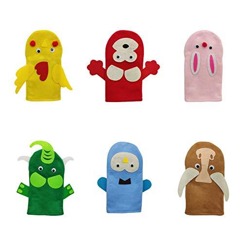 Tomaibaby 6 Juegos Kit de Fabricación de Marionetas de Mano DIY Haz Tu Propia Marioneta Arte para Niños Calcetín de Fieltro Tiempo de Cuentos Animales Marionetas Juguete Educativo Juego de