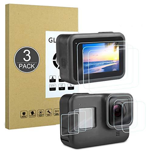 Protector de Pantalla Compatible con GoPro Hero 8 Black,[Resistente a Rayones,Alta Definición,Sin Burbujas],E-Hamii[3 Piezas]Protector de Vidrio Templado para GoPro Hero 8 Black