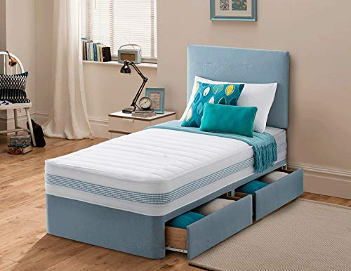 Sleep Factory's Plush Single Divan Bed For Adults or Kids with Drawer Option (Sky Blue, 3.0FT (2 Drawer))