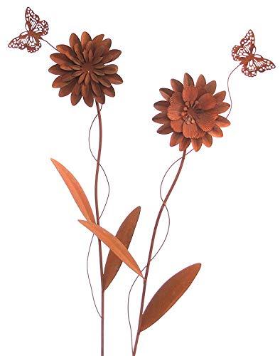 Metall Stecker. Blume mit Schmetterling. Set mit 2 Blumen. Rost Gartenstecker. 70 cm. 64079 (2 Stück)