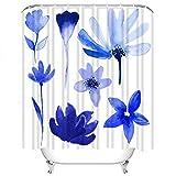 Set di tende da doccia Fiore dell'acquerello BLU Indaco Germoglio Foglie Monotono Stelo Tessuto in Poliestere Decor con 12 ganci Impermeabile lavabile 12 asole per bagno