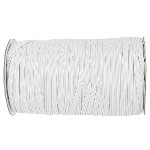 Elastische spoel, 200 meter 5 mm breedte Briaded elastische band Elastisch koord voor doe-het-zelf-kleding Kleding Tailleband Sprei Manchet(Wit)