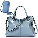 S-ZONE Women Genuine Leather Handbag Shoulder Purse Satchel Tote RFID Blocking PU Leather Crossbody Phone Bag Purse