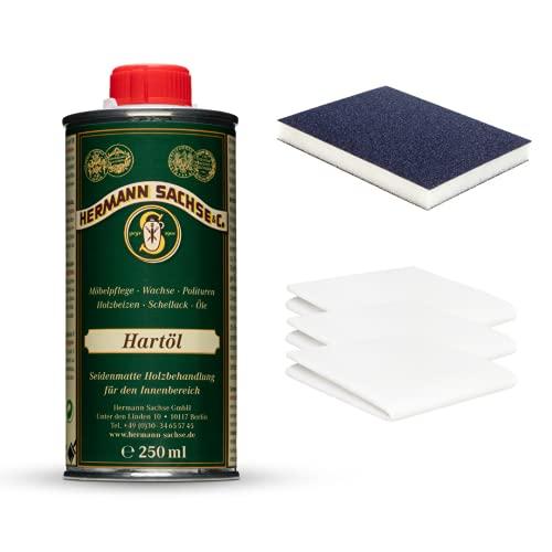 Hermann Sachse Hartöl - 250ml Set - Holzöl - Möbelöl - Effektiver Holzschutz im Innenbereich - Natürliches Leinöl - Arbeitsplattenöl - mit Universaltuch und Schleifmatte