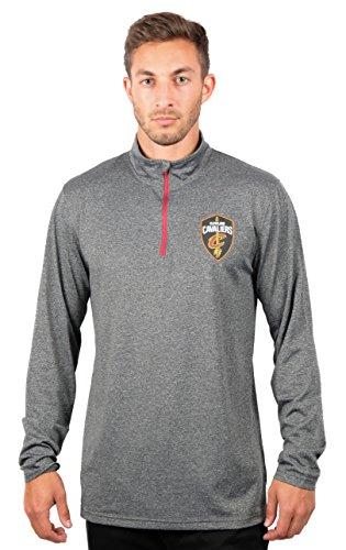 Ultra Game NBA Cleveland Cavaliers Mens Quarter-Zip Pullover Active Shirt, Heather Charcoal18, Medium