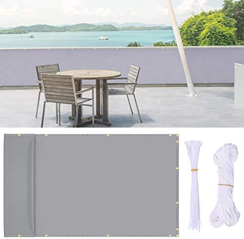 Ohuhu Balkon Sichtschutz, 0,9 x 5 m Zaun für Verranda, Hinterhof, Terrasse, Balkon Privatsphäre Schutz Zaun Mesh Beinhaltet Kabelbinder, Nylon Seil