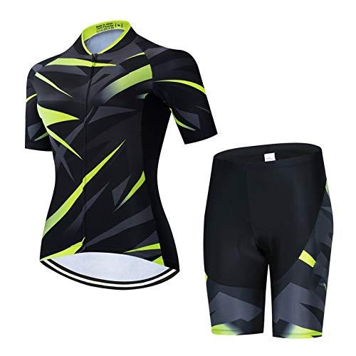 Cycling Clothing Las mujeres conjuntos de ciclismo ropa de bicicleta pantalones cortos de babero MTB Ropa para niñas camisetas Bike Jerseys Uniforme Trajes (Color : Cycling set 2, Size : Medium)
