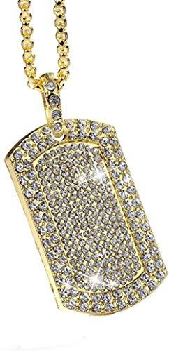 YZXYZH Collar Colgante De Hombre Vintage Lleno De Diamantes De Imitación De Color Dorado Collar De Etiqueta De Perro Cuadrado con Cadena Cubana Joyería De Hip Hop