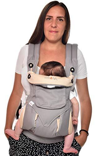 Riñonera para bebé ergonómica, 4 en 1, de puro algodón, portabebés certificado Reach de 3,5 a 15 kg