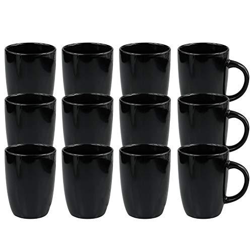 Werbewas Basic, schwarz, 12er Set - Keramik Kaffeetassen ohne Druck zum bemalen und basteln geeignet - Simple Kaffeebecher zum Personalisieren - 300ml - Tassen/Becher/Pott für Kaffee, Tee und mehr