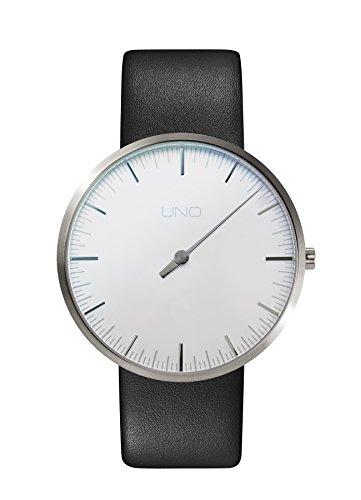 Botta Design UNO Jubiläumsedition Armbanduhr Quarz - Einzeigeruhr, Titan, Lederband (40, Perlweiß)