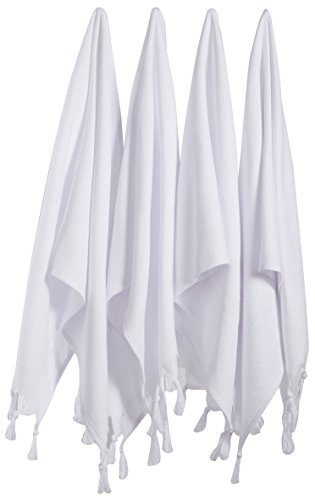 보스포러스(세트 4) 터키 코튼 핸드 페이스 헤드 체육관 요가 타월 세트 세탁물 - 4WHITE
