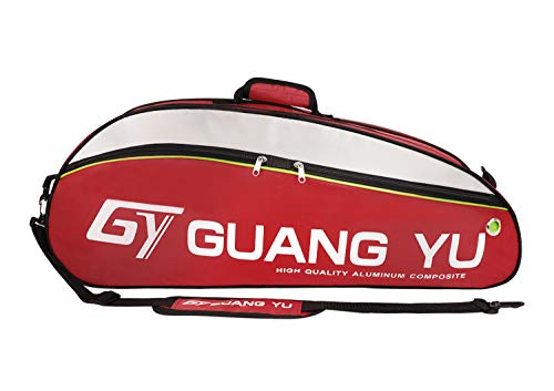 IPENNY Super Groß Badminton-Rucksack 800D Nylon Wasserdicht Tragbar Badminton Schläger Tasche Große Kapazität Sporttasche für 6 Schläger Multifunktion Umhängetasche Rot