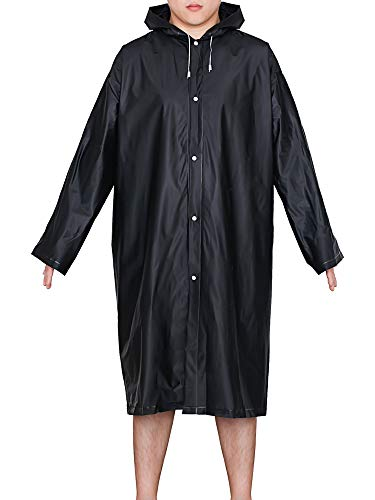 Mudder Adult Portable Raincoat Rain Poncho with Hoods and Sleeves (Black)
