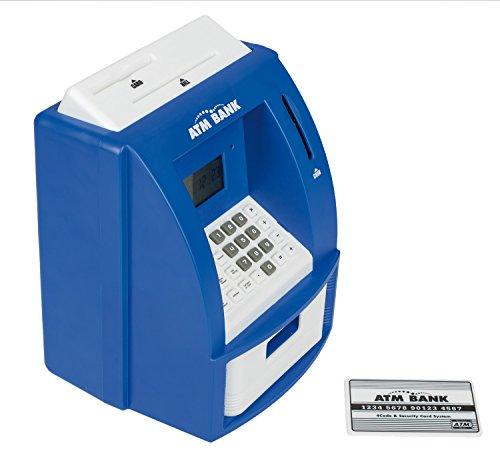 Idena 50020 Digitale Spardose, Geldautomat mit Sound, PIN geschützter Bankkarte, Münzzähler und vielen Funktionen, ca. 21,8 x 16 x 14,5 cm, blau
