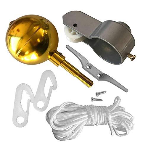Kit de accesorios de mástil de bandera, kit de reparación de piezas de mástil de bandera, para decoración de jardín, juego de reparación, abrazadera de bola de color dorado,cuerda para el hogar, polea