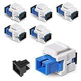 kwmobile Set de 6 módulos Keystone SC-SC para Cables de Red - Conectores a presión para Cables SC de Fibra óptica monomodo - Panel de Conexiones