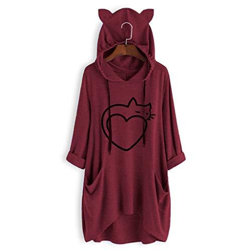 SCDZS XXXL Nummer Frauen übergroße Hoodie-Decke Casual Print Katzenohr mit Kapuze Langarm Tasche Unregelmäßige Top Bluse Shirt Schwitzen eine Capuche (Color : Wine)