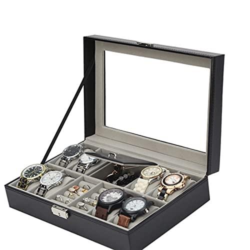 Joyero Caja De Reloj De Pu, Organizador De Anillos, Caja De Joyería Brillante Con Almohadas De Cuero Suave, Regalo Para Hombres Y Mujeres