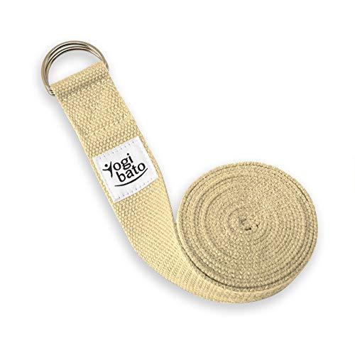 Yogibato Cinghia Yoga   100% Cotone 240 x 3,8 cm   Nastro per Una Migliore Stretching - Cinturino in Cotone - Banda Yoga con Chiusura in Metallo - Yoga Cintura Natura