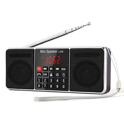 PRUNUS L-288 Radio portátil FM Am con Altavoz estéreo Bluetooth, Temporizador de Apagado, estación de Bloqueo, Tarjeta USB y TF y Reproductor de MP3 AUX - Negro