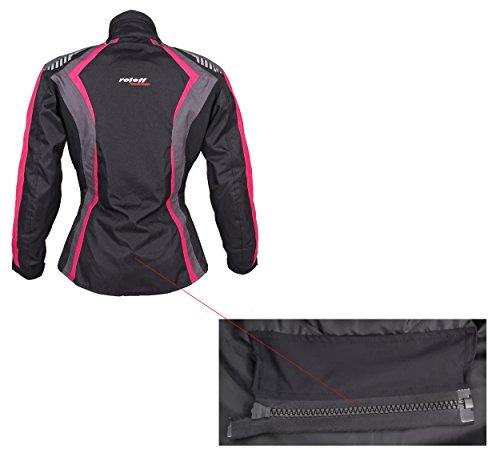 Roleff Racewear Damen Textil Motorradjacke mit Protektoren, Gute Belüftung, Taillierter Schnitt, Schwarz, Pink , Größe XXL - 11