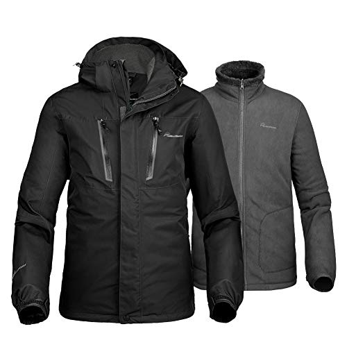 OutdoorMaster Men's 3-in-1 Ski Jacket - Winter Jacket Set with Fleece Liner Jacket & Hooded Waterproof Shell - for Men (Black,L)