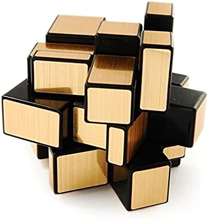 Royare Creative Puzzle Magic Cube Mirror Blocks Shiny Golden Black Frame Cube Brain Teaser Toy