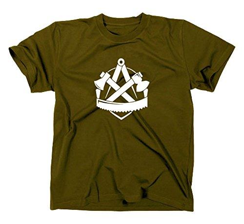 Zimmerer Handwerk Zunft Logo T-Shirt, L, Oliv